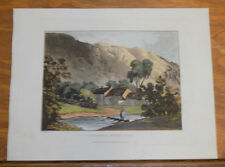 1821 Print, Aquatint Tour of English Lakes///COTTAGES IN ST JOHN'S VALE