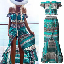 2PCS Ladies Summer Boho Off-Shoulder Tops Vest Blouse Long Skirt Beach Dresses