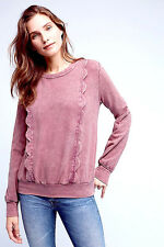 NEW NWT $88 ANTHROPOLOGIE ROSE PINK WECKERLIE SCALLOPED SWEATSHIRT TOP XS
