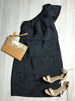 Country Road Black Dress One Shoulder Ruffle Fringe Size 8 Silk Cocktail Evening