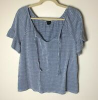 W5 Women's Top Size Large Short Sleeves Tie Neck Casual Blue White