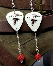 NFL Atlanta Falcons Guitar Pick Earrings with Red Pave Bead Dangles