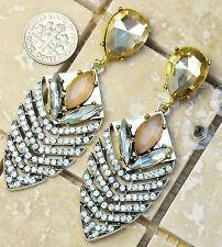 """FREE SHIP Large Art Deco Style Clear Rhinestone Pierced Dangle Earrings 2.5"""""""