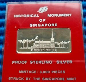 Historical Monument of Singapore St Andrew's Cathedral in Proof Sterling Silver