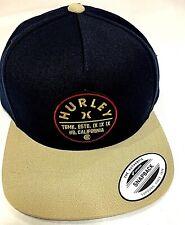 NWT HURLEY NAVY / TAN FLAT BILL ONE SIZE ADJUSTABLE SNAPBACK HAT BALLCAP