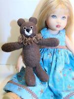 "Miniature Artist made Brown Floppy Teddy Bear 3 1/2"" OOAK by Beth Diane Hogan"