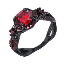 Vintage Hollow Round Red Ruby Black Gold Flower Wedding Band Ring Gift Size 5-11