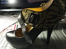 """Shoes, Women's by NAUGHTY MONKEY, black leather with animal print 5"""" heel SZ 7**"""