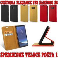 """CUSTODIA COVER SLIM IN ECOPELLE A LIBRO """"ELEGANCE"""" PORTAFOGLIO PER SAMSUNG S8"""