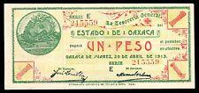 Estado de Oaxaca 1 Peso 4.20.1915 Series E, M3372a / SI-OAX-8. AU..