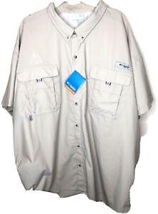 COLUMBIA Men's PFG Omni-Shade Short Sleeve Fishing Shirt SS Khaki CitGo Logo 5XL