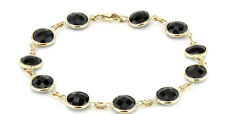 14K Yellow Gold Bracelet With Fancy Cut Black Onyx 8 Inches