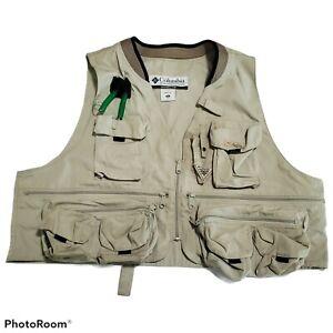 Columbia Vest Mens XL Khaki Hunting Fly Fishing Field Stream PFG Zip Up