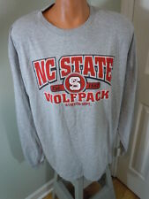 NC State Wolfpack T-Shirt Mens Long Sleeve Gray Red Football Basketball Size 2XL