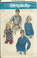 S 8711 sewing pattern 70's vintage Pullover SHIRT long/short sleeves sew size 16