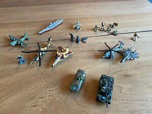 Micro Machines Job Lot Military Vehicles + Figures - Fighter Plane Warship Tanks
