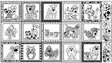 "23"" Fabric Panel - Loralie Designs Doggie Dear Black & White Color Me Dog Blocks"
