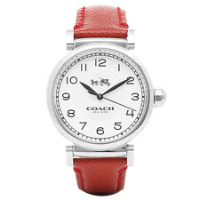 BRAND NEW COACH 14502407 MADISON SILVER STEEL CASE RED LEATHER BAND WOMENS WATCH