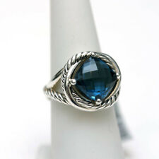 DAVID YURMAN NEW 11mm Infinity London Blue Topaz Silver Ring  7