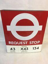 VINTAGE ENAMEL RED BUS REQUEST STOP FLAG -ORIGINAL LONDON TRANSPORT MOTOR SIGN
