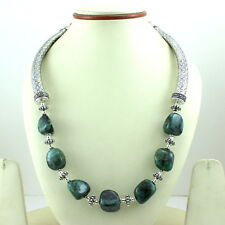 NATURAL GREEN EMERALD GEMSTONE BEADED BEAUTIFUL CHARMING NECKLACE 112 GRAMS