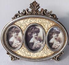 3er Bilderrahmen Creme-Silber Fotorahmen Rahmen Fotos nostalgisch retro 52217