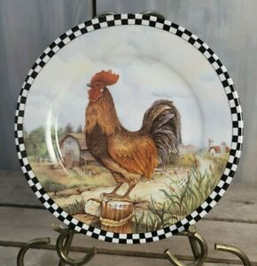 "3- Roosters & Barns Farmhouse Decor 8"" Collectible Black White Checkered Plates"