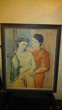 "Vintage Oil on Canvas Painting Copy of Picasso ""THE LOVERS"" Artist Signed"