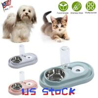 Pets Bowl Dogs Feeder Water Automatic Food Drink Dispenser Cat Double Dishes US