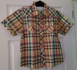 boys M&S yellow mix short sleeve shirt age 11