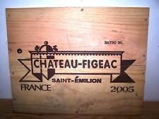 Façade estampe vin chateau Figeac 2005 wood wine case front panel ohk owc cbo