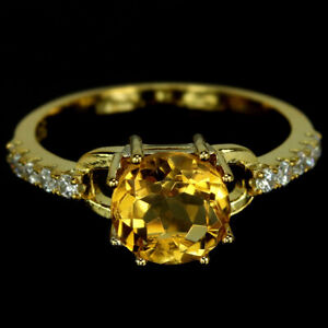 NATURAL AAA ORANGISH YELLOW ROUND & WHITE CZ STERLING 925 SILVER RING SIZE 8