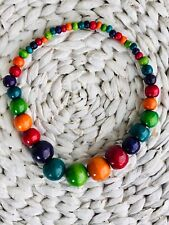 BOHO / RETRO WOOD BEAD MULTI RAINBOW STATEMENT NECKLACE (Panama) - THE RED GECKO
