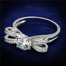 Ladies bow ring sterling silver solitaire 2.20 carat pretty handmade new 470