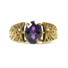 Gold Ring mit Amethyst Bandring Fein durchbrochene Handarbeit in 375 Gold GR 60