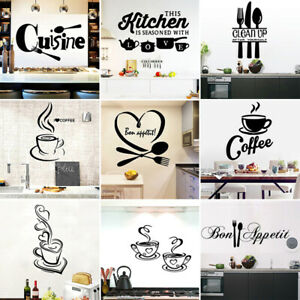 1PC Large Kitchen Wall Sticker Cuisine Coffee Vinyl Stickers Poster Mural