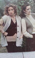"Vintage Poppleton Waistcoat Sweater Jumper Knitting Pattern 34-38"" DK no.1490"