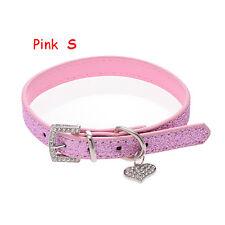 Crystal Buckle Adjustable Pet Dog Collar Heart Pendant Bling Leather Neck Strap Pink S