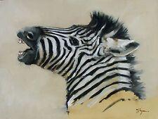 More details for original oil painting - wildlife art - realism - zebra   - by  uk artist j payne