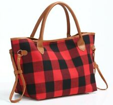Women Buffalo Plaid Tote handbag with Pu Leather Trimmed Handles Travling bag