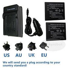 2pcs Battery+charger For Panasonic LUMIX CGA-S007a  DMC-TZ15 DMC-TZ50 DMC-TZ1