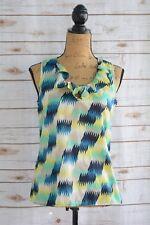 Banana Republic - Blue GREEN yellow sleeveless V-neck RUFFLED blouse size S