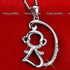 3D Monkey Necklace Silver Animal Pet Pendant Costume Jewelry Gifts for Her Women