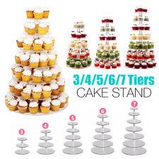 3/4/5/6/7/Tier Acrylic Clear Round Cupcake Cake Stand Birthday Wedding Party AU