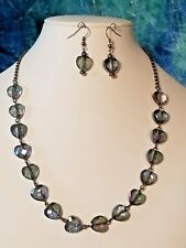 Iris Blue Faceted Glass Heart Beaded Necklace Set.   Handcrafted A~K~N Design