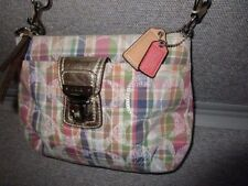 Coach Madras Plaid Crossbody Swingpack Pastels Sequins Gold Metallic Leather #L7