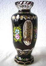 Rubinglas - Vase Überfang Haida Steinschönau Gold- und Emaillemalerei