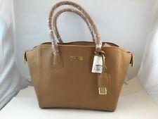 JOY & IMAN Beat Friend City Satchel Tote Authentic Genuine Leather, NWT Tan