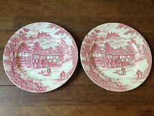 2 ANTIQUE STAFFORDSHIRE ENGLAND J. BROADHURST & SONS RED SWAN INN DINNER PLATES