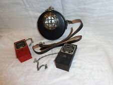 Vintage Simplex Time Recorder Clock In Leather Case with 2 Recording Stations